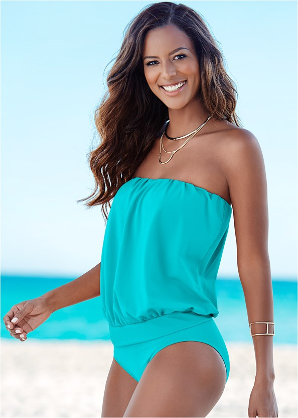 Blouson Tankini Top,Mid Rise Bottom,Mid Rise Full Cut Bottom,Lattice Side Bikini Bottom,Adjustable Side Swim Short