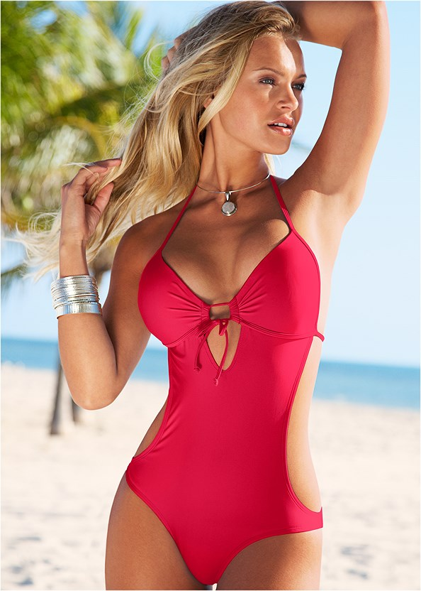 Sweetheart Tie Front Halter Monokini,Sheer Cover-Up Dress
