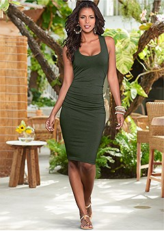 57813b59120 ruched tank dress