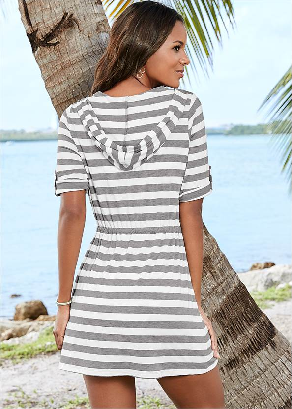 Back view Zip Front Hooded Cover-Up Dress