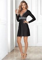 deep v trim cocktail dress