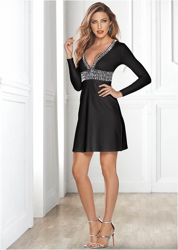 Deep V Trim Cocktail Dress,Rhinestone Clutch