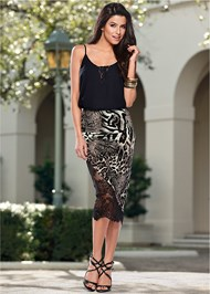 Front View Lace Inset Sleeveless Top