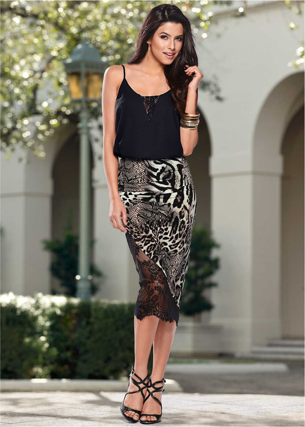 Lace Inset Sleeveless Top