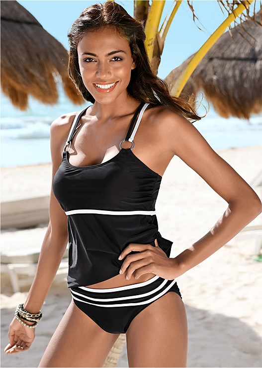 TANKINI TOP,MID RISE BOTTOM,HIGH WAIST MODERATE BOTTOM,HIGH WAIST FULL CUT BOTTOM,COLD SHOULDER COVER-UP