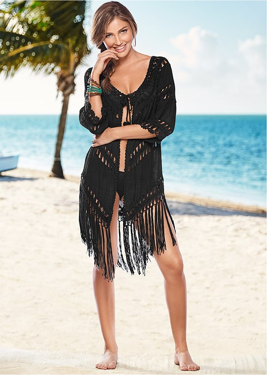 Open Front Crochet Cover Up In Black Venus