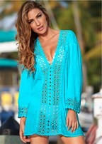 open crochet trimmed tunic