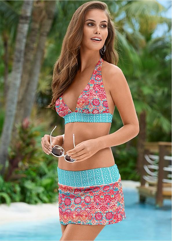 Sash Halter Bikini Top,Bohemian Skirted Bottom,Fold Waist Bottom,Scoop Front Classic Bikini Bottom ,Open Crochet Trimmed Tunic