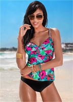 tropical floral tankini top