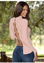 Back view Lace Up Ribbed Knit Top