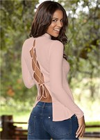 lace up ribbed knit top