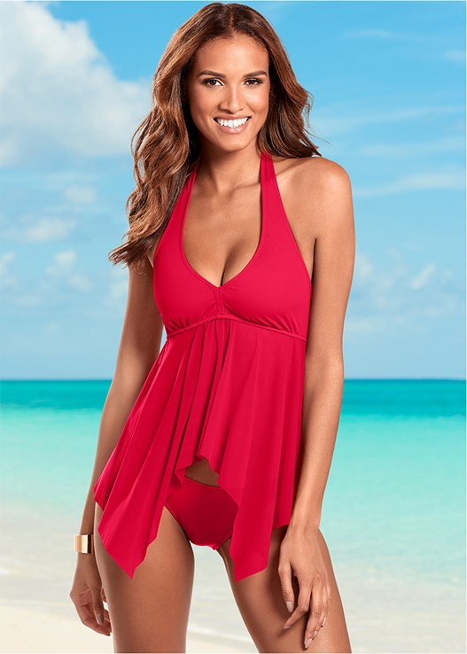 MESH SHARKBITE TANKINI TOP,LOW RISE BIKINI BOTTOM,SCOOP FRONT BIKINI BOTTOM