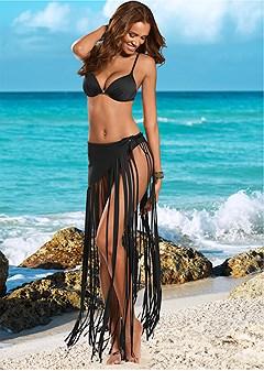 long fringe wrap skirt