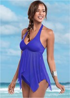 mesh sharkbite tankini top