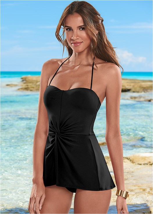 PRETTY TWIST FRONT TANKINI,HIGH WAIST MODERATE BOTTOM,HIGH WAIST FULL CUT BOTTOM
