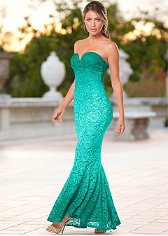 ombre lace long dress