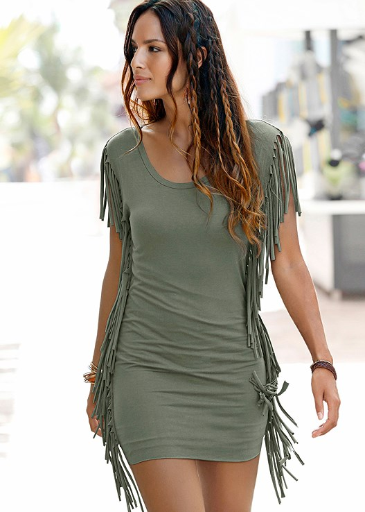 FRINGE TRIM DRESS,BRAIDED DETAIL WEDGES