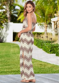 Back view Belted Maxi Dress