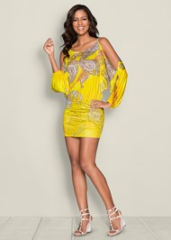 FRONT VIEW Cold Shoulder Print Dress