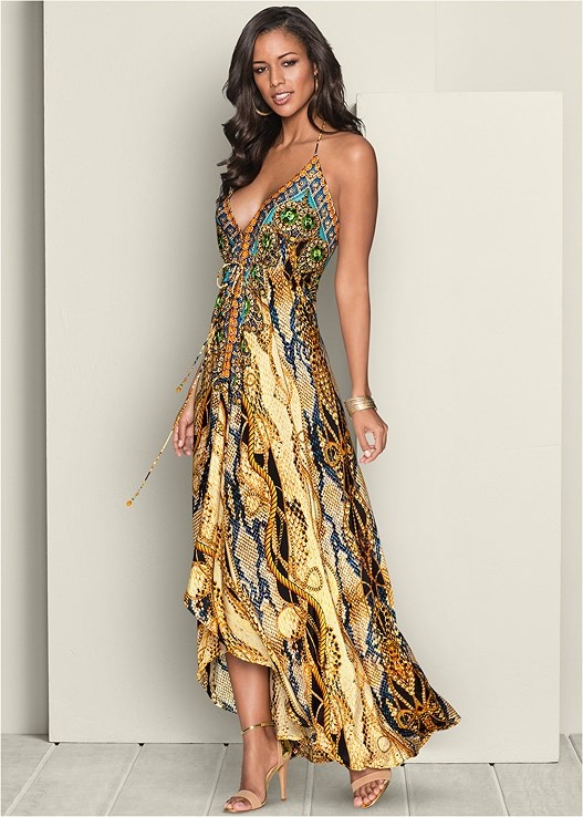 ed99417e1ba6 LOW BACK PRINTED MAXI DRESS in Cream Multi | VENUS