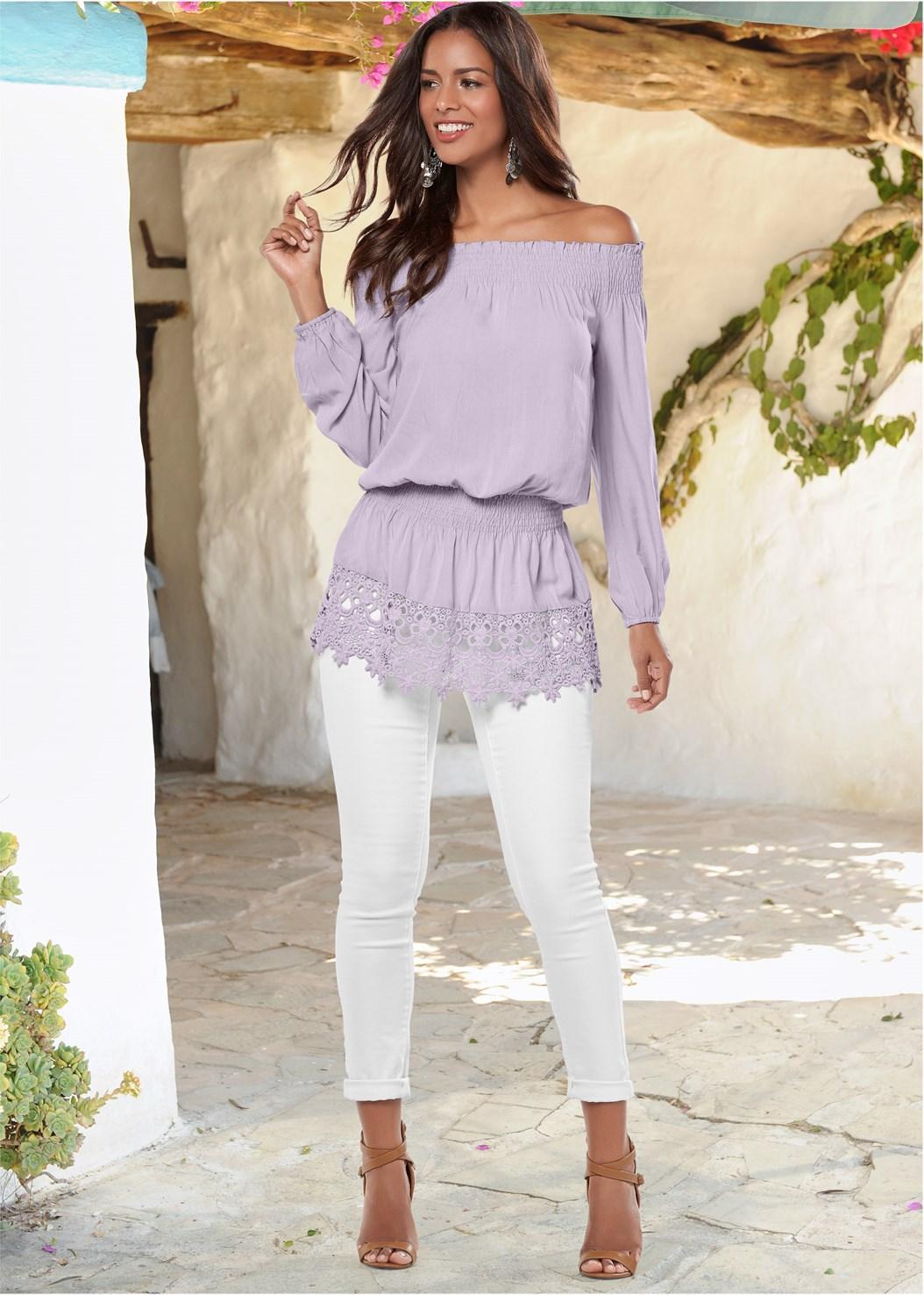Off The Shoulder Lace Top,Raffia Detail Heels