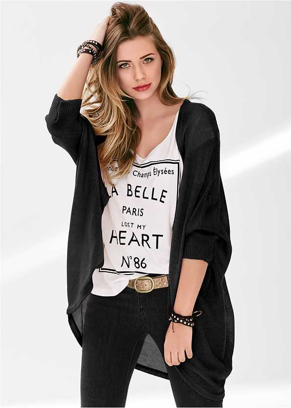 Oversized Cardigan,Love Print Top,Basic Cami Two Pack,Triangle Hem Jeans,Mid Rise Color Skinny Jeans,Rhinestone Thong Sandal,Espadrille Platform Wedges,Stud Detail Scarf,Beaded Raffia Hoop Earrings,Pleated Tote Bag