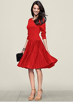 pleated fit flare dress