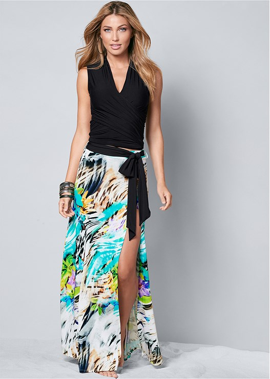 BELTED PRINT MAXI SKIRT