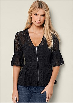 zip up lace top