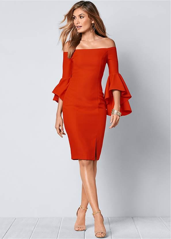 Sleeve Detail Dress,Sexy Slingback Heels,Beaded Drop Earrings