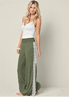 lace side slit easy pants