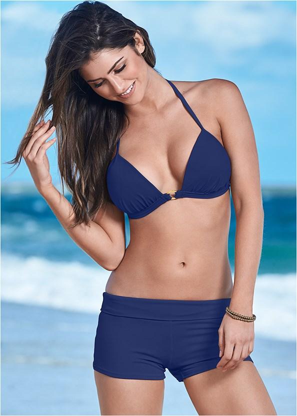Enhancer Push Up Ring Halter Triangle Top ,Swim Short,String Side Bikini Bottom,Low Rise Classic Bikini Bottom