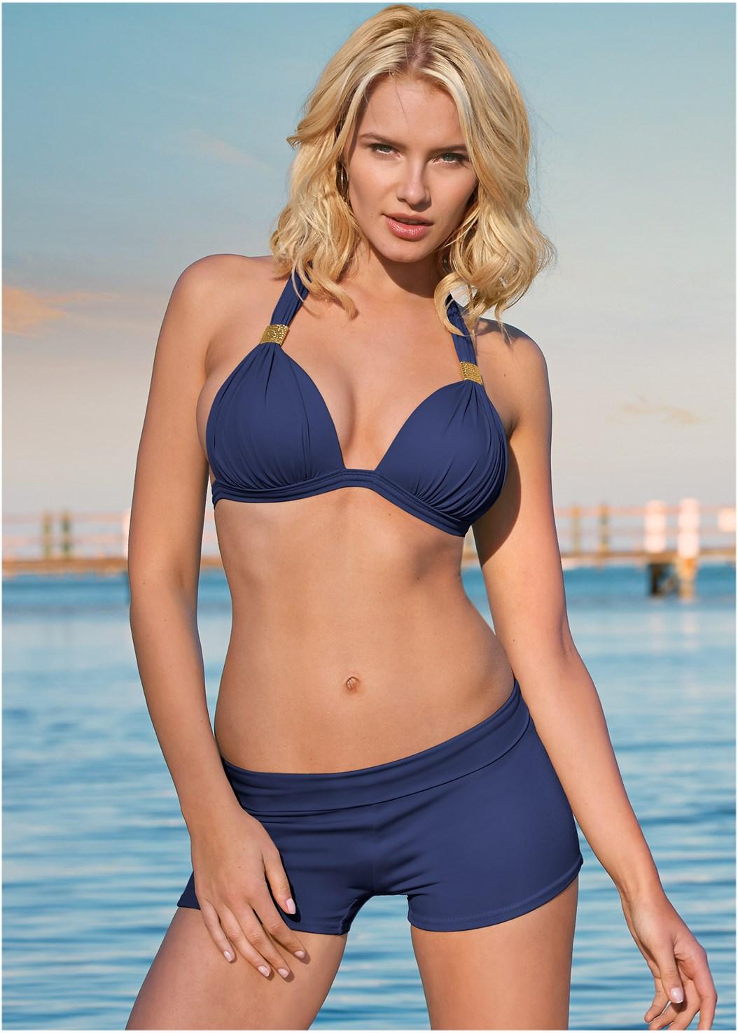 Goddess Enhancer Push Up Halter Top,Swim Short,Sheer Caftan Cover-Up