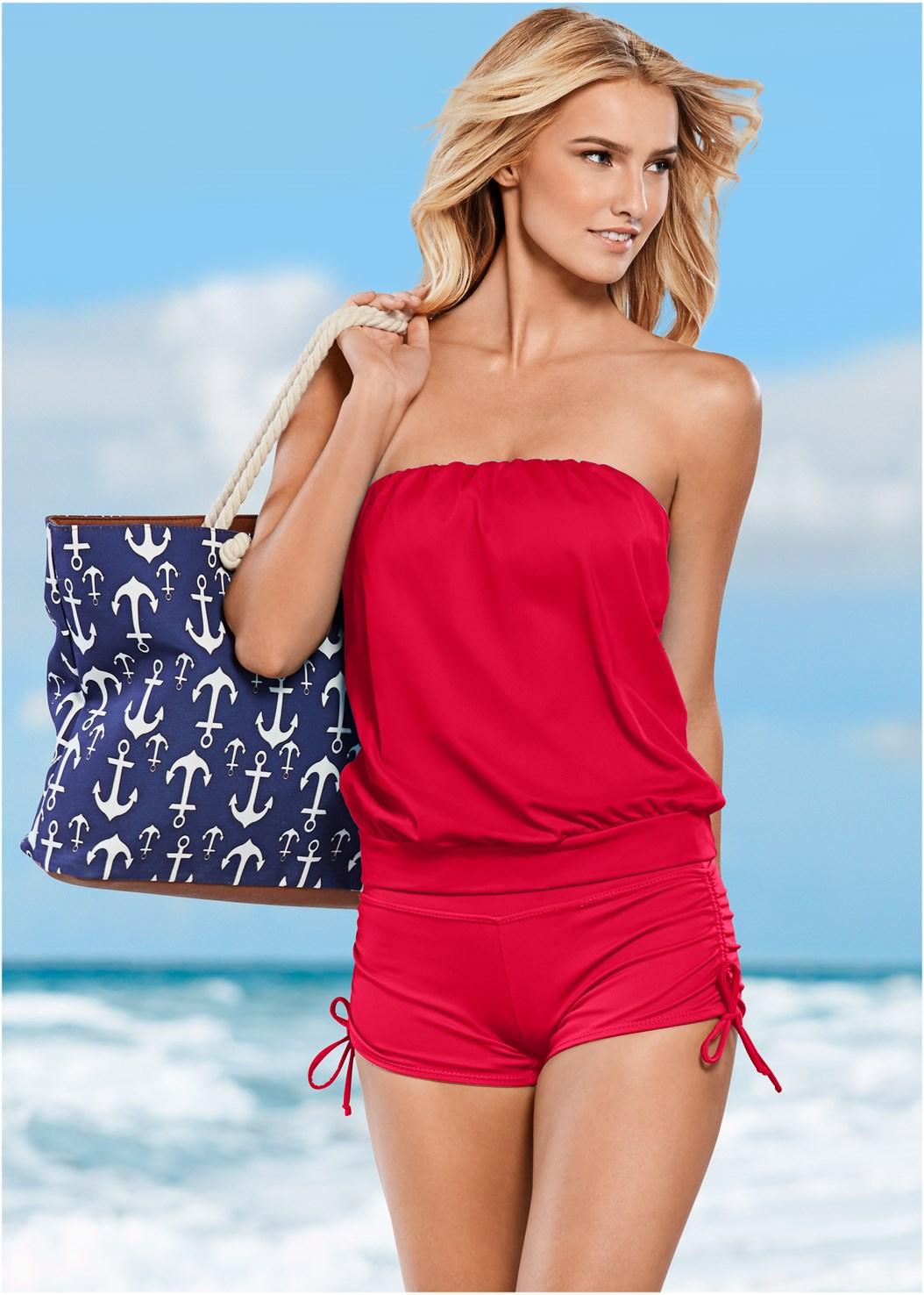 Blouson Bandeau Bikini Top,Adjustable Side Swim Short,Full Coverage Mid Rise Hipster Bikini Bottom,Low Rise Bikini Bottom,Bandeau Maxi Dress Cover-Up