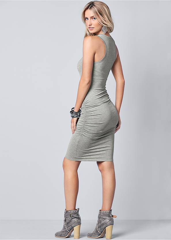 Back View Sleeveless Ruched Bodycon Midi Dress