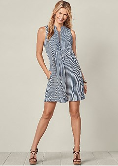 lace up stripe dress
