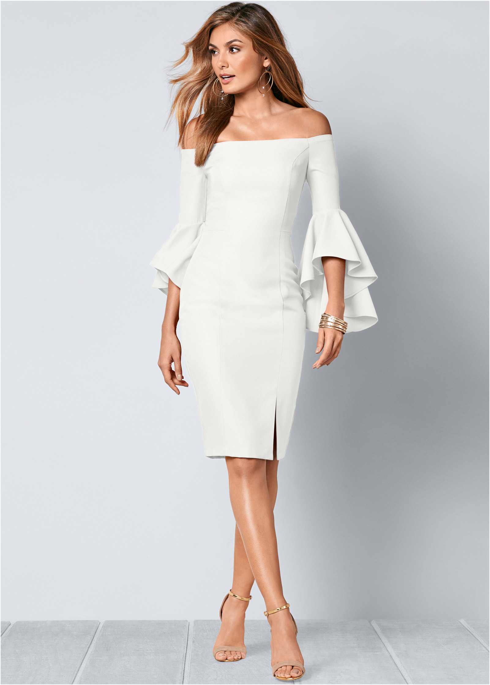 SLEEVE DETAIL DRESS in White | VENUS