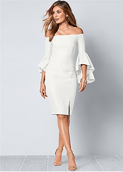Sleeve Detail Dress In White Venus
