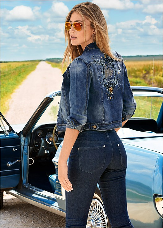 EMBELLISHED JEAN JACKET,SEAMLESS CAMI,COLOR SKINNY JEANS