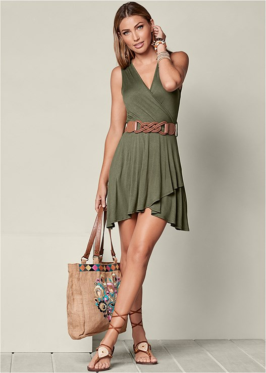 Mini Dress With Belt In Olive Venus