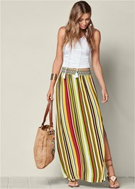FRONT VIEW Stripe Print Maxi Skirt