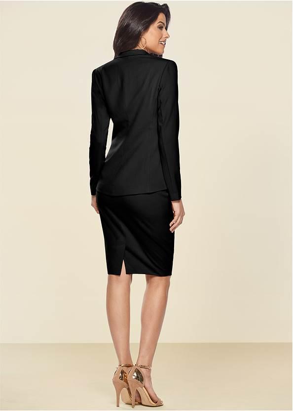 Back View Pencil Skirt Suit Set