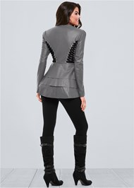 Alternate View Lace Up Faux Leather Jacket