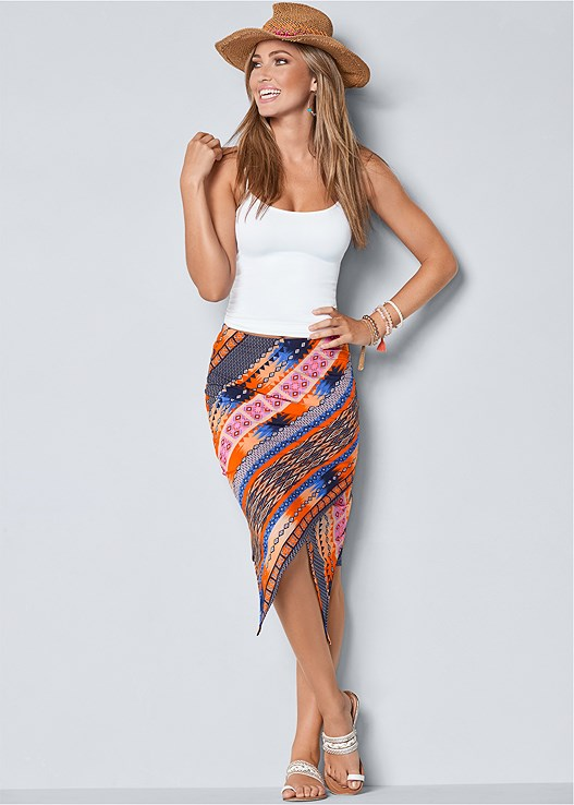 SURPLICE FRONT SKIRT,SEAMLESS CAMI