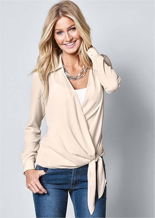 SURPLICE SIDE TIE BLOUSE,SEAMLESS CAMI,COLOR SKINNY JEANS,STUDDED BUCKLE BOOT