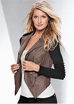 faux leather sweater jacket