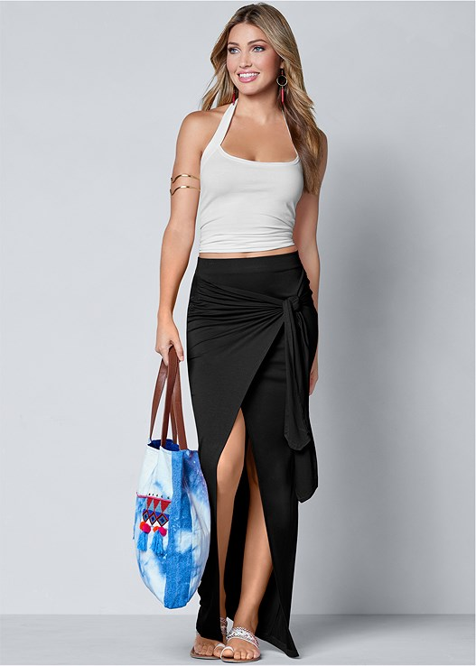 TIE FRONT LONG SKIRT
