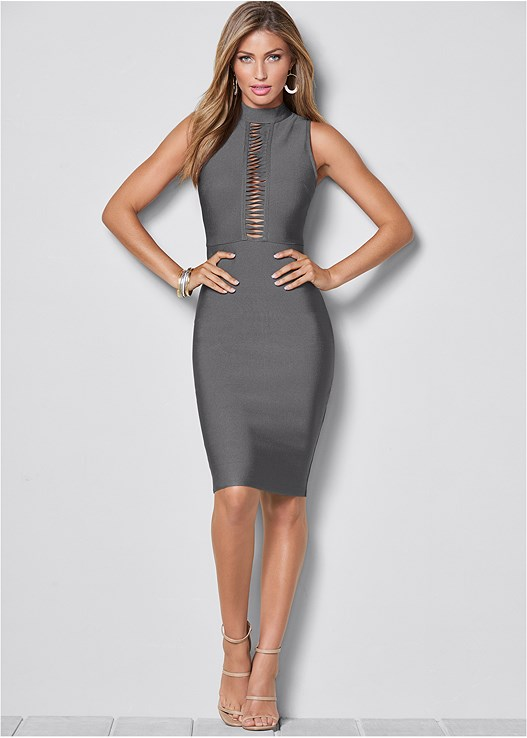 BANDAGE MOCK NECK DRESS,HIGH HEEL STRAPPY SANDALS