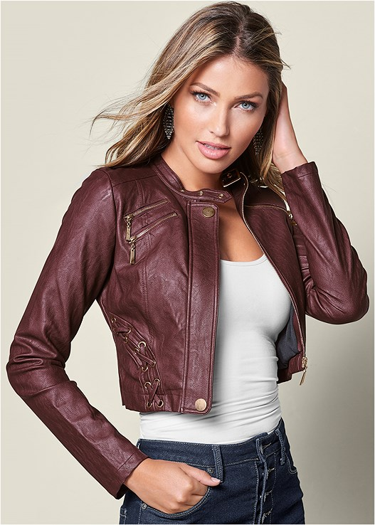 FAUX LEATHER LACE UP JACKET,SEAMLESS CAMI,SLIMMING STRETCH JEGGINGS,OPEN HEEL BOOTIE