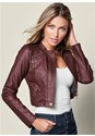 Cropped front view Faux Leather Lace Up Jacket